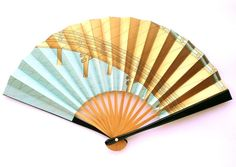 Hand Fan - Vintage Japanese Fan - Sensu Paper Fan -  Small Size Bridal Fan (F1-11) Water And Bridge  With Lots of Gold