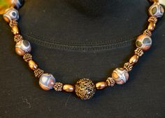 """""""Winter Extruded"""" necklace, Variation 1.  Polymer clay, glass and metal beads"""