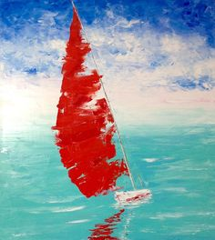 Large Boat Painting Turquoise and Red Painting Impressionism Red Sailboat Painting Canvas Impasto Painting Larde Ocean Painting Original Oi