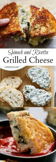 Spinach and Ricotta Grilled Cheese Sandwiches- a unique twist on an old favorite. - Spinach and Ricotta Grilled Cheese Sandwiches- a unique twist on an old favorite. So simple yet sat - I Love Food, Good Food, Yummy Food, Comida Diy, Vegetarian Recipes, Cooking Recipes, Healthy Recipes, Mexican Recipes, Haitian Recipes
