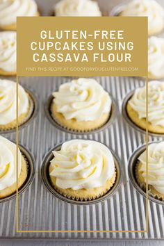 Cassava flour is easy to work with and mimics the taste and texture of gluten. These gluten-free cupcakes are make with cassava flour and taste great. Happy cupcake eating ya'll!