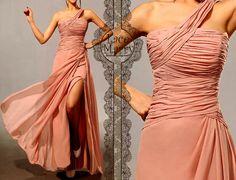 Single Shoulder Blush Pink Greek Style Long Chiffon Dress - Floor Length Chiffon Bridesmaid Dress - Greek Goddess Style Chiffon Dresses