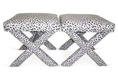 Charcoal & White Leopard X-Benches, Pair | Designer Exclusive | One Kings Lane