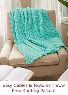 Easy Cables & Texture Throw Free Knit Pattern in Red Heart Yarn Super Saver