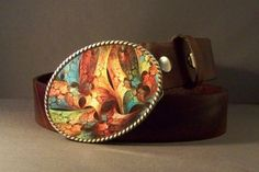 Vintage Brown Leather Belt with Abstract Buckle by 4MLeatherDesign, $77.00