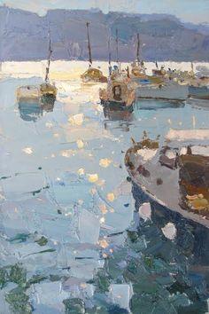 Select Sold Works: Daniil Volkov - Flecks of Sunlight Impressionist Paintings, Seascape Paintings, Landscape Paintings, Watercolor Paintings, Impressionism, Abstract Landscape, Abstract Art, Inspiration Art, Boat Painting