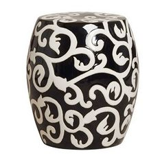 Garden Stool from InStyle Decor Beverly Hills Hollywood Luxury Home Decor Black And White Furniture, Black And White Interior, Black White, Pretty Black, Color Black, Ceramic Stool, Ceramic Garden Stools, Modern Ceramics, White Ceramics