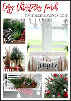 "Today I'm here to share my Cozy Christmas Screen Porch as part of the ""Baby"
