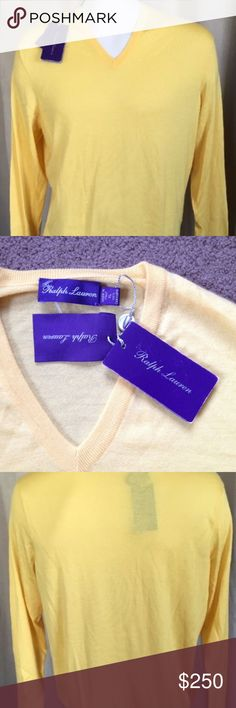 """🆕 RALPH LAUREN COLLECTION Cashmere Sweater XL Ralph Lauren Purple Label men's super soft 100% cashmere yellow v-neck sweater.  Designer label on shirt is coming off but could be easily fixed with a stitch.  Ribbing along neckline, cuffs and band on bottom of shirt.  Retails for $695! Item comes from a smoke free home. #M32  Armpit to armpit: 23""""  Sleeves: 26""""  Length (top of collar, center back to hem): Approx 26.5"""" Ralph Lauren Collection Sweaters V-Neck"""