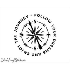 Enjoy The Journey Vinyl Decal - Landlikes Sites Compass Art, Compass Drawing, Compass Design, Compass Rose, Geometric Compass, Nautical Compass, Tatoos, Body Art Tattoos, Rosary Tattoos