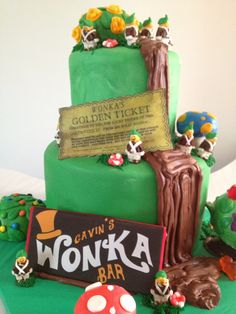 My latest Cake Creation - Willy Wonka with Oompa Loompas :D
