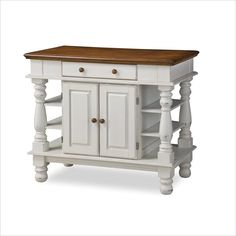 Home Styles Americana Kitchen Island in White - 5094-94