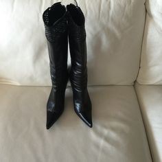 Casadei black leather boots size Eur 36 or US 6 Casadei black leather boots size Eur 36 or US 6 in very good condition. Casadei Shoes