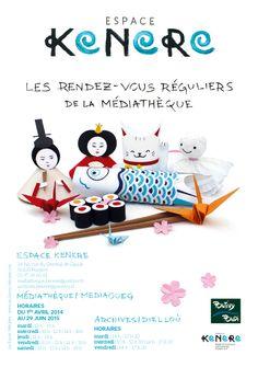 """Maquette du flyer A5 pour la médiathèque """" Espace KENERE """" - Paper toys & Typographie à la main - Les Fasces Nébulées"""
