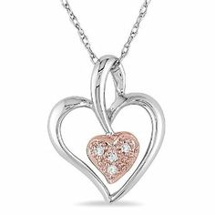 10k White and Pink Gold 0.02 CT TDW Diamond Heart Pendant With Chain (G-H, I1-I2) Amour. $117.99