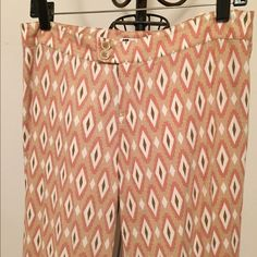 Geometric pattern wide leg linen pants Straight wide leg linen pants. Size 4 but will also for size 6 for snugger fit. NWOT Charlotte Little Pants