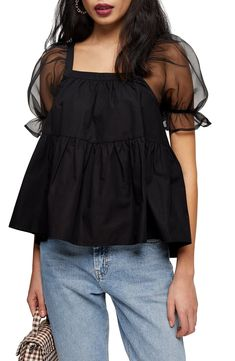 Petite Women's Topshop Organza Sleeve Peplum Blouse, Size US (fits like - Black Source by nordstrom Blouses Peplum Blouse, Printed Blouse, Topshop, Merino Wool Sweater, Petite Women, Plus Size Blouses, Swimwear Fashion, Affordable Fashion, Nordstrom