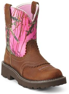 Ariat Pink Camo Saddle Vamp Fatbaby Cowgirl Boots - Round Toe - Sheplers