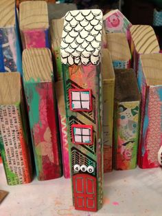 love the bright colors with the black and white on these Mixed-media houses - Special order - 7.20.13