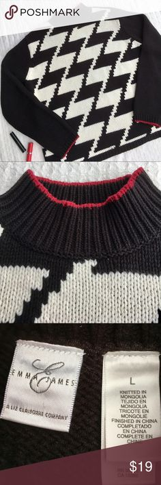 """EMMA JAMES """"a LIZ CLAIBORNE CO"""" ZIGZAG SWEATER ...WINTER WEATHER IS JUST AROUND THE CORNER....STAY COZY AND WARM IN THIS EMMA JAMES ZIGZAG SWEATER.  White and black zigzag pattern on the front, solid black back.  Red line adorns the top of the turtleneck and the bottom of the sleeves.  60% cotton and 40% acrylic.   Measurements:  23.5"""" length, 23"""" chest and 19"""" sleeve length.  Details:  machine wash warm, delicate cycle.  Tumble dry low.  Stored in a smoke free home. PERFECT CONDITION…"""