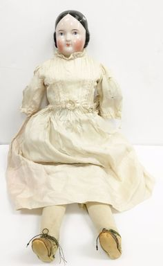 "Rare 18"" Antique German Porcelain Doll w/ Original Dress and Leather Boots"