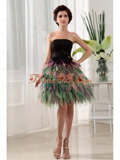 Colorful Prom Dress With Bowknot Ruffles For Custom Made- $143.32  http://www.fashionos.com   | a line prom dress | prom dress under 150 | prom dress with fitted waist | special occasion dresses |