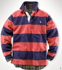 861f29cdafad4 POLO Polo Ralph Lauren Men s Stripes long sleeved Polo Red Blue