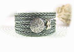 leather wrap bracelet grey women - choose your color! (6 colors) - layered bracelet
