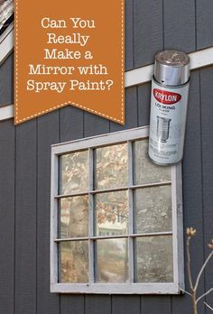 Can You Make a Mirrored Window with Spray Paint? - Pretty Handy Girl pane ideas flag Can You Make a Mirrored Window with Spray Paint? Painted Window Panes, Window Pane Mirror, Faux Window, Window Art, Old Windows Painted, Old Window Decor, Window Clings, Window Glass, Mirror Glass