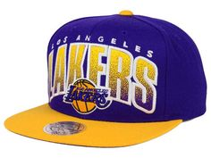 a24cc0f2d16 Los Angeles Lakers Mitchell and Ness NBA Double Bonus Snapback Cap Hats  Lakers Hat