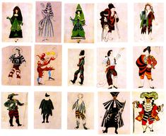 """Costume Designs for the Ballet """"Le Tricorne""""     In 1919 Picasso designed """"Le Tricorne"""", a ballet set in 18th-century Spain. The curtain showed bullfight spectators, the stage set a stylized, two-dimensional landscape. The costumes drew upon traditional Spanish costumes; though the combined frontal and upward angles of vision owe something to Cubism, the dominant note is superficial, decorative."""