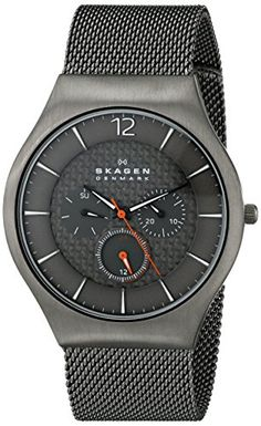 "Skagen Mens SKW6146 ""Grenen"" Gunmetal-Tone Titanium Watch with Mesh Band"