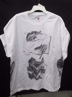 M.C. Escher XXL T-Shirt Multiple Prints / Front / Back and Sides 6 prints total #Handmade #GraphicTee