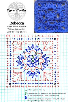 Crochet Chart, Crochet Motif, Crochet Stitches, Crochet Diagram, Diy Crochet Granny Square, Crochet Squares, Diy Crochet Garland, Crochet Pillow, Doilies Crochet
