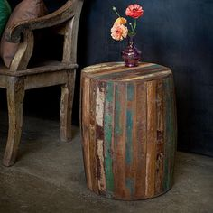 Ack. Love. Reclaimed Wood Weathered Tanki Table - eclectic - side tables and accent tables - Overstock