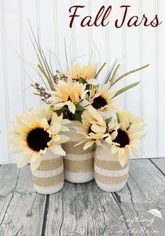 Best Mason Jar Crafts for Fall - Fall Jars With Dollar Store Flowers - DIY Mason Jar Ideas for Centerpieces, Wedding Decorations, Homemade Gifts, Craft Projects with Leaves, Flowers and Burlap, Painted Art, Candles and Luminaries for Cool Home Decor http://diyjoy.com/mason-jar-crafts-fall