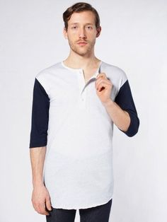 American Apparel Men's Poly-Cotton 3/4 Sleeve Baseball Placket T Large-White / Navy / White. From #American Apparel. Price: $34.00