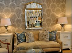 This is the Farrow and Ball wallpaper pattern - LOTUS - just not in the right color!  But...you get an idea of what the pattern looks like on a wall. Available at Boxwood Interiors in Houston!