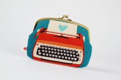 Metal frame purse with two sections - Typewriters in blue and red - Maxi siamese / Retro vintage inspired / Modern / Peach grey medium blue Retro Typewriter, Red Peach, Frame Purse, Red Maxi, Blue Party, Siamese, Retro Vintage, Retro Chic, Vintage Inspired