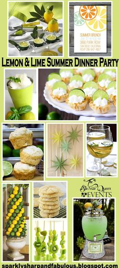 Lemon and Lime Summer Dinner Party - lots of ideas.this is perfect for our first monthly dinner party! A monthly dinner party. This is super cute even for an end of summer party Lemon Party, Dinner Club, Supper Club, Summer Parties, Dinner Parties, Spring Party, Dinner Themes, Lemon Lime, Perfect Party