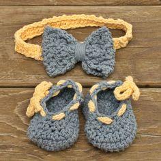 baby booties baby headband crochet blue yellow by spinningsheep, $25.00