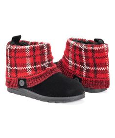 Muk Luks Black & Red Plaid Patti Boot - Women | Zulily