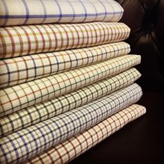 "acornfabrics: "" A nice selection of on its way to a customer on ❄️❄️❄️❄️❄️ Classic Outfits, Classic Style, Der Gentleman, Check Fabric, Savile Row, Check Shirt, Haberdashery, Sewing Techniques, The Selection"