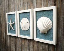 Cottage Chic Set of Beach Wall Art, Sea Shells Home Decor, Beach House Wall Decor, Sea Shell Art, Coastal Art, Pure White&Ocean Blue Burlap