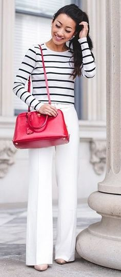 #street #style #fashion #fblogger #spring #outfitideas | White pants striped tee work outfit red prada bag | Extra Petite                                                                             Source