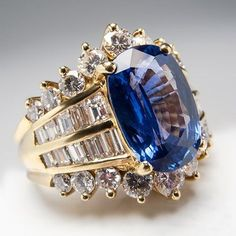 High Quality Natural Blue Sapphire & Diamond Cocktail Ring 18K Gold