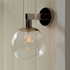 "Globe Sconce, $99, West Elm -- good for covered outdoor areas. ""A light on either side should be ¼ of the size of the front door. If it's just on one side, it should be 1/3 size of the front door."" --David Benton"