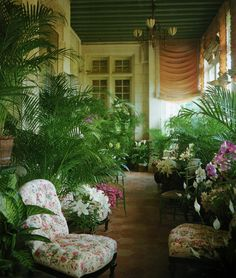 The winter garden at chateau gabriel, Yves St. Laurent's Normandy getaway