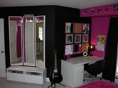 Design Dazzle » Hot Pink And Black Zebra Bedroom! Check the mirrors too, DIY project!