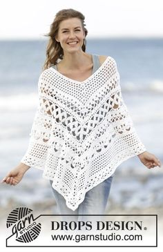 "Light's Embrace / DROPS 169-4 - Crochet DROPS poncho with lace pattern, worked top down in ""Paris"". Size S-XXXL."